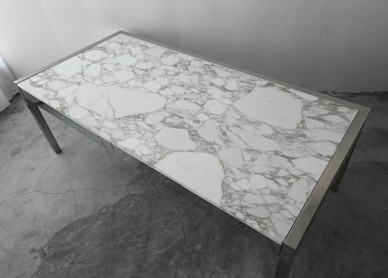 7 Foot Marble and Polished Stainless Steel Executive Desk by Leon Rosen for Pace For Sale 2