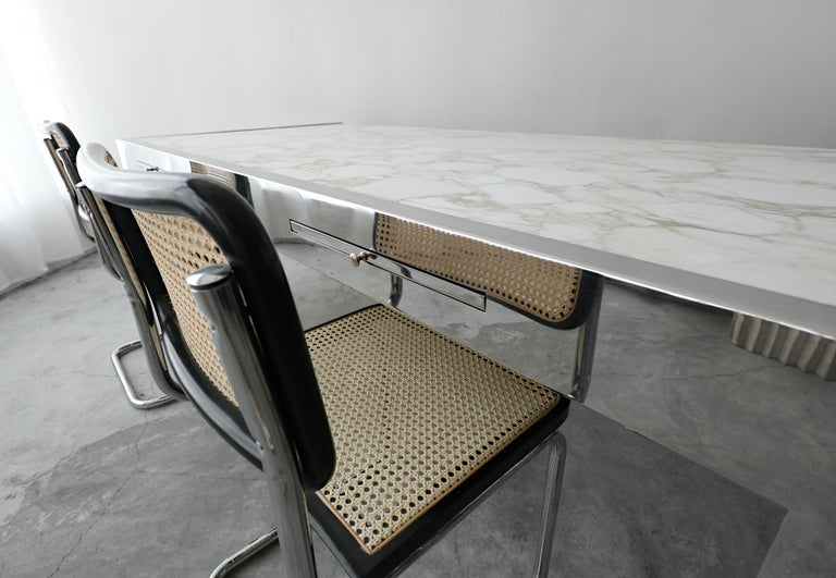 7 Foot Marble and Polished Stainless Steel Executive Desk by Leon Rosen for Pace For Sale 4