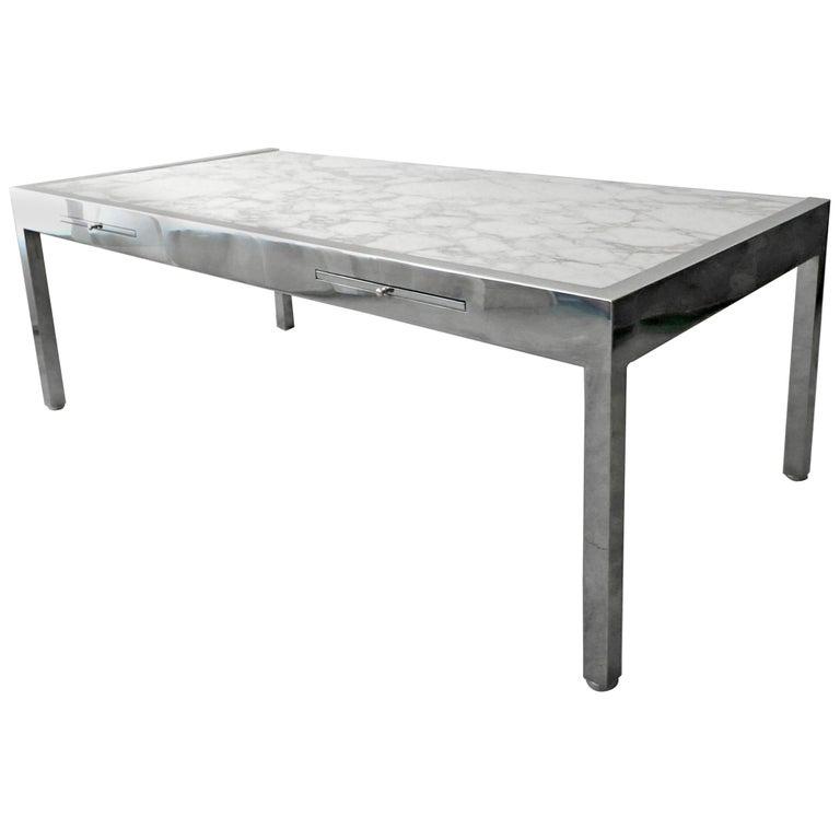 7 Foot Marble and Polished Stainless Steel Executive Desk by Leon Rosen for Pace For Sale