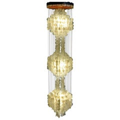 Verner Panton Style Capiz Shell Chandelier Hanging Light