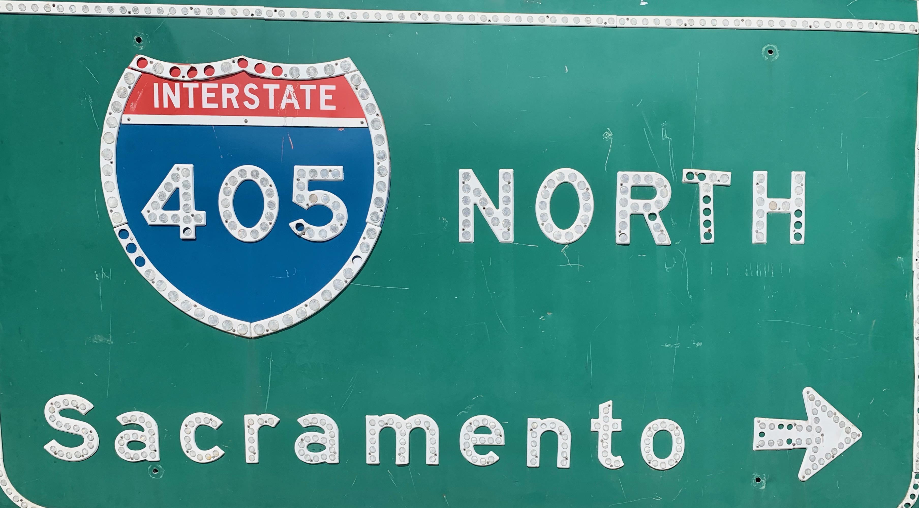 Vintage Los Angeles 405 Freeway Sign