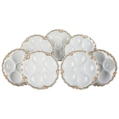 7 French Hand Gilt Haviland Limoges Porcelain Clam & Oyster Plates, 19th Century