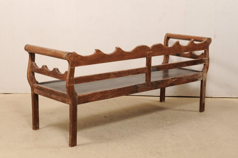 7 Ft Long Mid 20th C. Brazilian Peroba Wood Bench with Nicely Carved Back Rail  For Sale 6