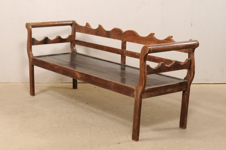 7 Ft Long Mid 20th C. Brazilian Peroba Wood Bench with Nicely Carved Back Rail  For Sale 7