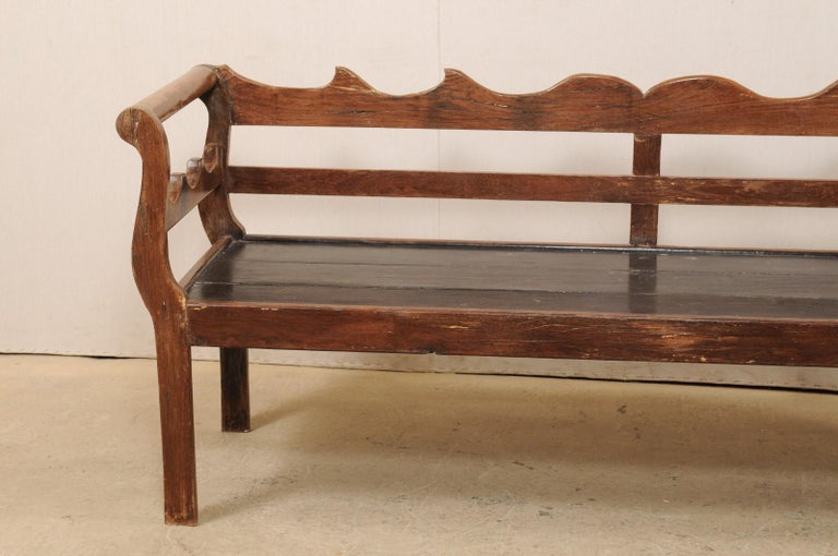 7 Ft Long Mid 20th C. Brazilian Peroba Wood Bench with Nicely Carved Back Rail  In Good Condition For Sale In Atlanta, GA