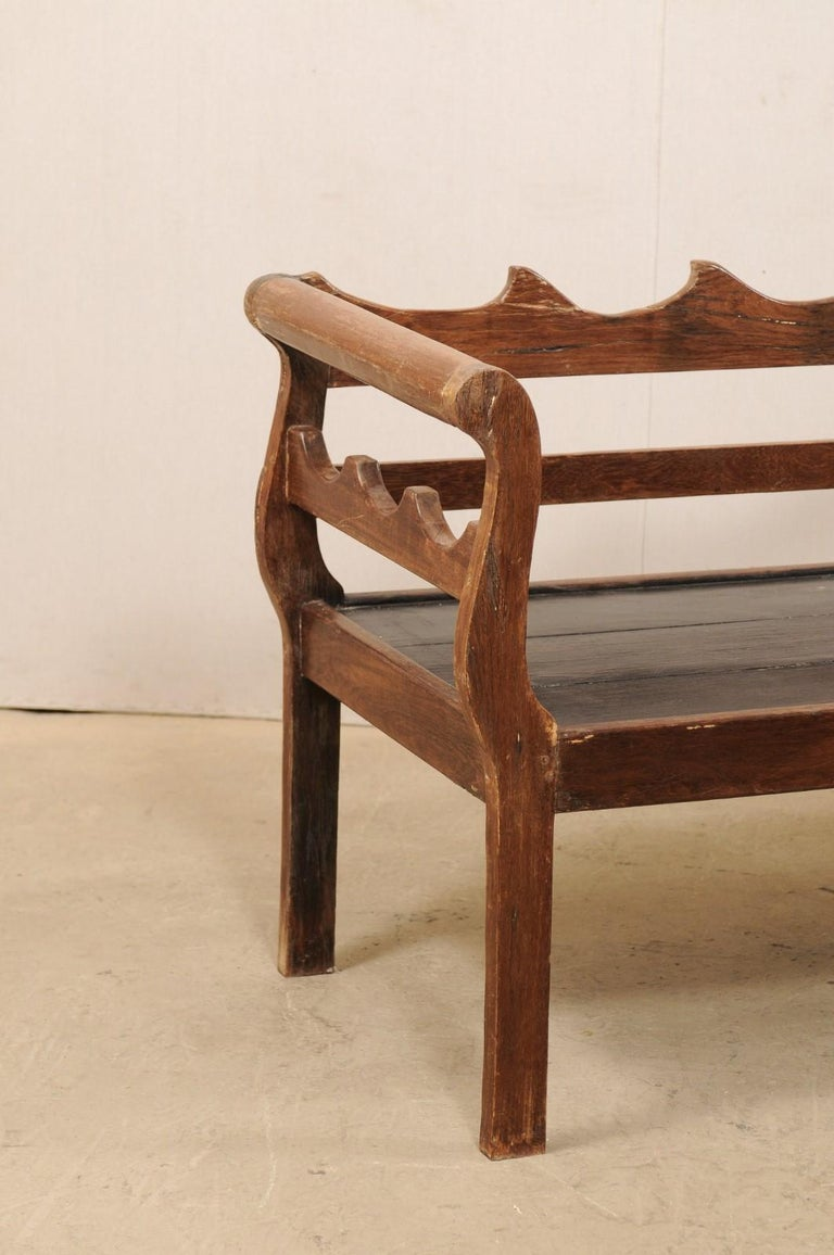 20th Century 7 Ft Long Mid 20th C. Brazilian Peroba Wood Bench with Nicely Carved Back Rail  For Sale