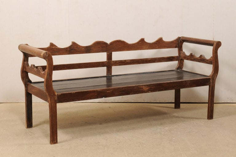 7 Ft Long Mid 20th C. Brazilian Peroba Wood Bench with Nicely Carved Back Rail  For Sale 2