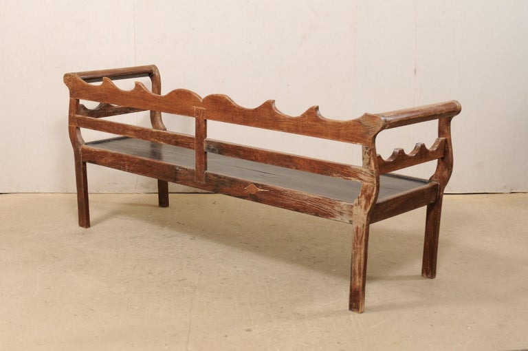 7 Ft Long Mid 20th C. Brazilian Peroba Wood Bench with Nicely Carved Back Rail  For Sale 4