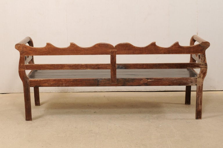7 Ft Long Mid 20th C. Brazilian Peroba Wood Bench with Nicely Carved Back Rail  For Sale 5