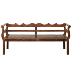 7 Ft Long Mid 20th C. Brazilian Peroba Wood Bench with Nicely Carved Back Rail