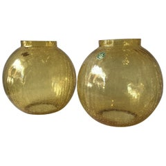 7 German 1960s Amber Crackle Glass Lamp Bases / Flush Mounted Globes