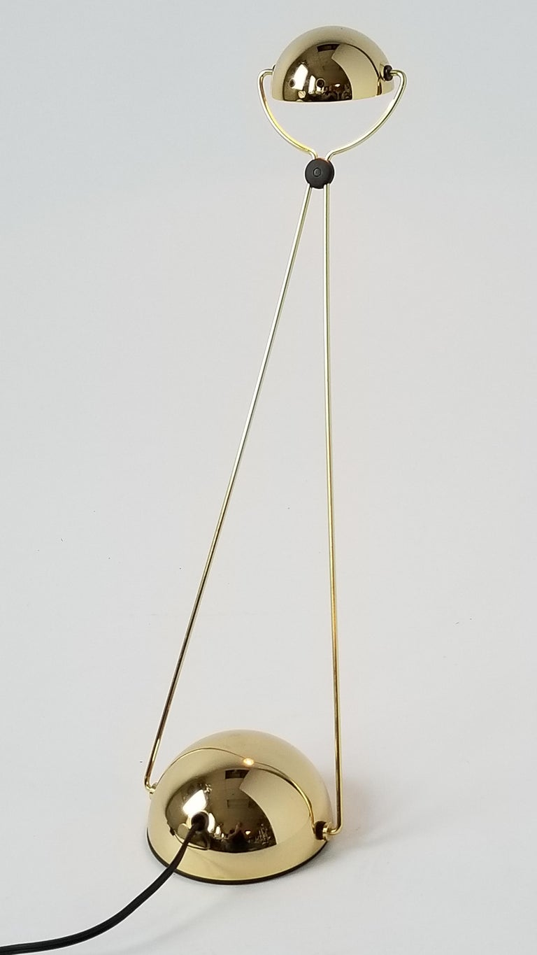Late 20th Century 7 Gold-Plated Halogen Table Lamp 'Meridiana' by Stephano Cevoli, 1980s, Italia For Sale