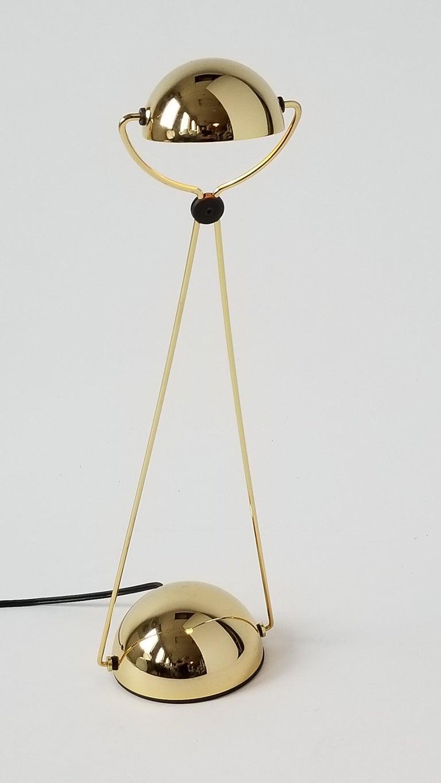 7 Gold-Plated Halogen Table Lamp 'Meridiana' by Stephano Cevoli, 1980s, Italia For Sale 1
