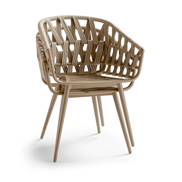 Modern 7-PC, Outdoor Dining Set, Wrapped Rope or Natural Finish, Stacking Chairs For Sale
