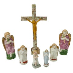 Religious Cross and 6 pcs 19th Century Porcelain Angels