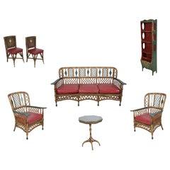 7-Piece American Ypsilanti Art Deco Wicker Furniture Set