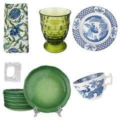 7 Piece Blue Green Table Setting W/ Plates Glasses Cloth Napkins Italy Set of 12