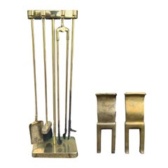Mid-20th Century Brass Andirons & Fire Tools Set with Stand, Hallmarked