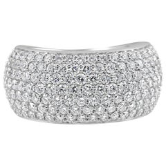 7-Row White Round Diamond 18 Karat Gold Dome Style Fashion Cocktail Band Ring