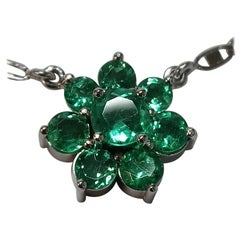7-Stone Emerald Cluster White Gold Necklace