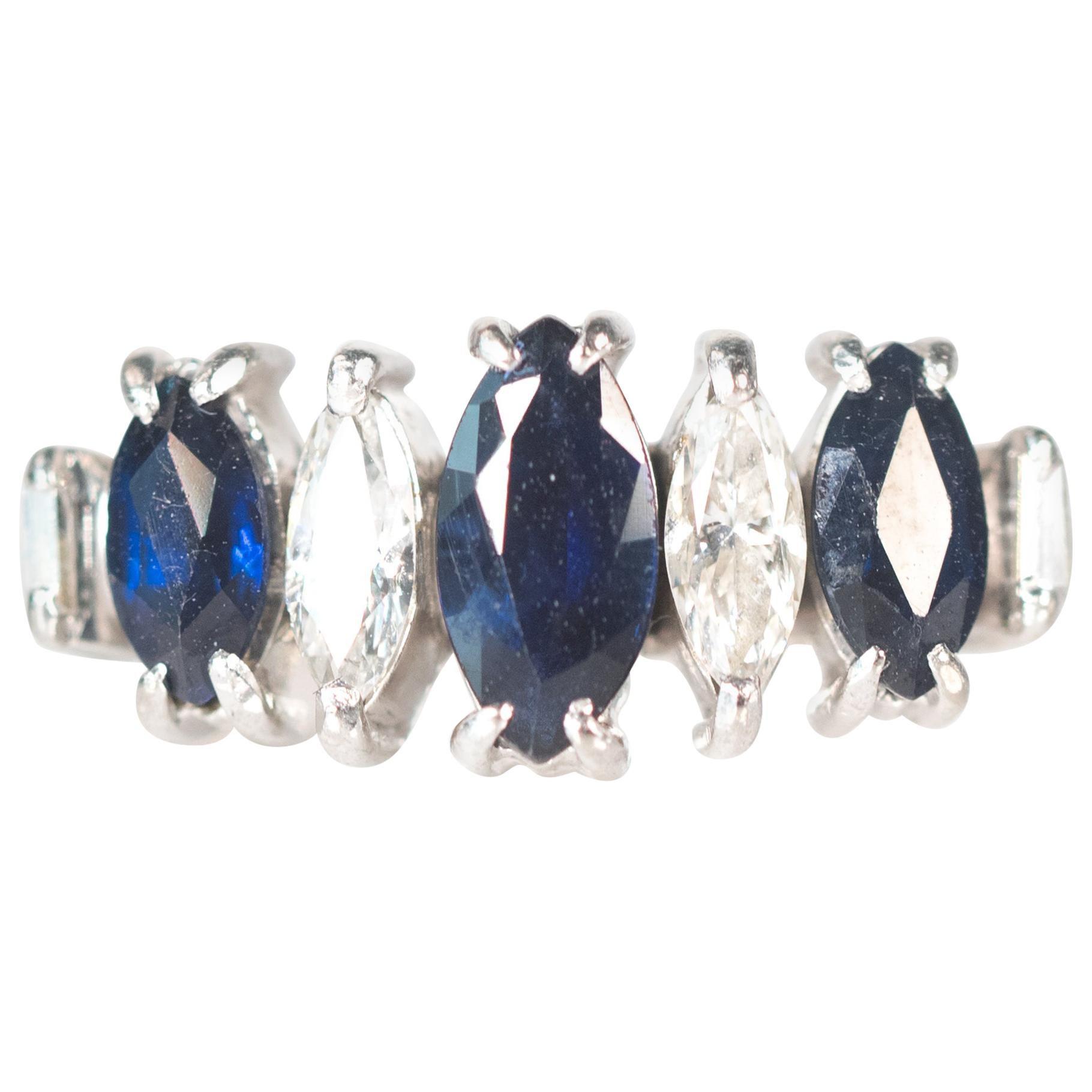 7-Stone Sapphire, Diamond and Platinum Ring, 1950s