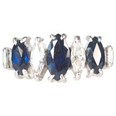 7-Stone Sapphire, Diamond and Platinum Ring, 1950s