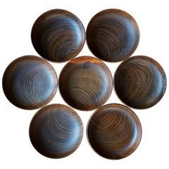 7 Unknown Craftsman Studio Craft Turned Teak Bowl Set Midcentury Danish Rustic