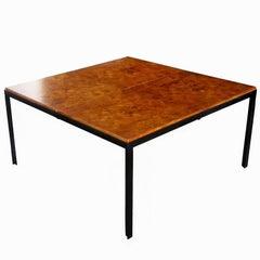 Vintage Midcentury Knoll Style Burled Top Coffee Table