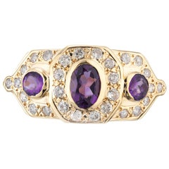 .70 Carat Amethyst Diamond Yellow Gold Cocktail Ring
