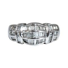 .70 Carat Baguette Diamonds Ring Cocktail Band 14 Karat