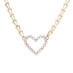.70 Carat Diamond Heart Two-Tone White Yellow Gold Pendant Necklace