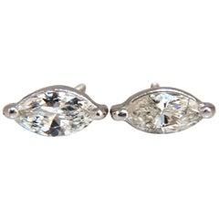 .70 Carat Marquise Diamond Stud Earrings 14 Karat