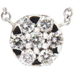 .70 Carat Natural '7' Round Brilliant Diamond Cluster Pendant 14 Karat