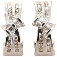 .70 Carat Natural Diamonds Semi Hoop Clip Earrings 14 Karat