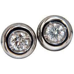 .70 Carat Natural Round Diamonds Bezel Flush Stud Earrings 14 Karat G/Si-1
