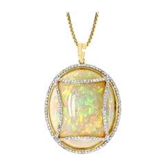 70 Carat Oval Ethiopian Opal and Diamond Pendant or Necklace 14 Karat Gold