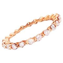 .70 Carat Pink Gold Eternity Stackable Diamond Ring Band 14 Karat
