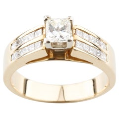 .70 Carat Princess Diamond Solitaire Ring Accent Stones in Yellow Gold