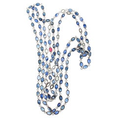 70+ Carat Sapphire Chain Necklace Set in White Gold with Single Ruby