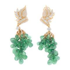 70 Carat Total Emerald Briolette & Diamond Earrings in 18k Yellow Gold