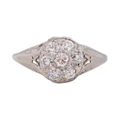 .70 Carat Total Weight Art Deco Diamond Platinum & 14 Karat WG Engagement Ring