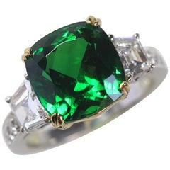 7.0 Carat TW Cushion Tsavorite and Diamond Ring, Ben Dannie