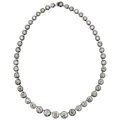 70 Carats Old European-Cut Diamond Rivière Necklace