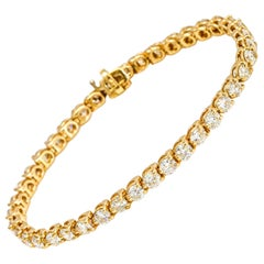 7.00 Carat 14 Karat Yellow Gold Diamond Tennis Bracelet