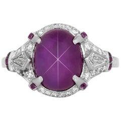 7.00 Carat Art Deco Star Ruby Ring