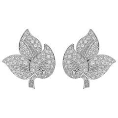7.00 Carat Diamond Leaf Clip/Post Gold Earrings