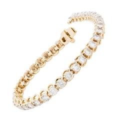 7.00 Carat Diamond Tennis Bracelet in 14 Karat Yellow Gold