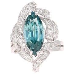 7.00 Carat Marquise Blue Zircon Diamond 14 Karat White Gold Ring