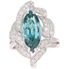 7.00 Carat Marquise Cut Blue Zircon Diamond 14 Karat White Gold Ring