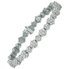 7.00 Carat Natural Diamond Bracelet G SI 14 Karat White Gold